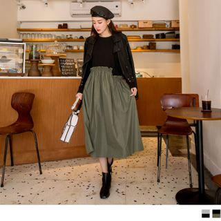 OrangeBear - Two Tone Asymmetric Long Sleeve Dress