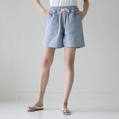 Lemite(レミテ) - Band-Waist Linen Blend Shorts