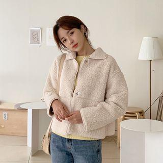 mimi&didi - Hidden-Button Sherpa-Fleece Jacket