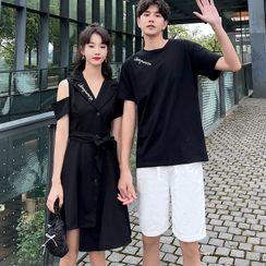 Azure - Couple Matching Short-Sleeve T-Shirt / Shorts / A-Line Dress