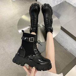Wello - Platform Lace-Up Short Boots