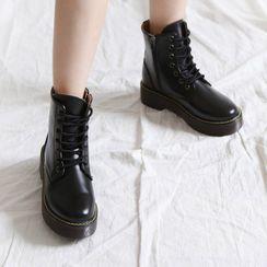 MERONGSHOP - Platform Lace-Up Ankle Boots
