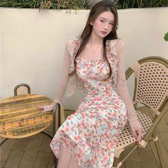 merryberry - Ruffle Cardigan / Spaghetti Strap Flower Print Midi A-Line Dress
