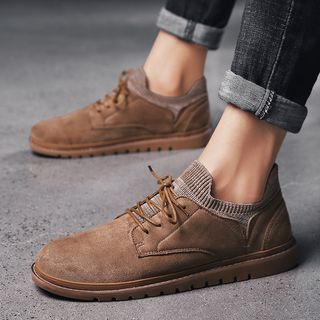 MARTUCCI - Knitted Cuff Lace Up Shoes