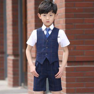 Snow Castle - Kids Set: Short-Sleeve Shirt + Vest + Shorts + Tie