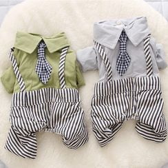 Salonga - Collared Striped Mock Two-piece Pet Overall