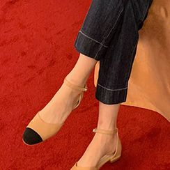 FROMBEGINNING - Toe-Cap Ankle-Strap D'Orsay Flats