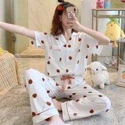 Dreamdazz - Pajama Set: Heart Print Top + Pants