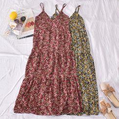 Dudu - Flower Print Spaghetti Strap Midi Shift Dress