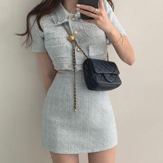 Coris - Tweed Short-Sleeve Cropped Blouse / Mini Pencil Skirt