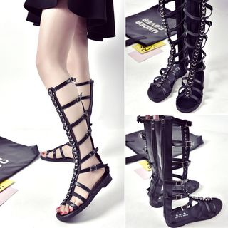 Yoflap(ヨフラップ) - Buckled Knee High Roman Flat Sandals