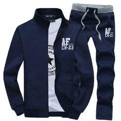 Aozora - Set: Stand-Collar Zip Jacket + Sweatpants