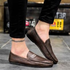 B-Z - Number Embroidered Faux Leather Loafers