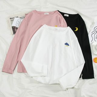 Annyoung  - Long-Sleeve Embroidered T-Shirt
