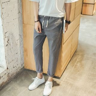 Aozora - Drawstring-Waist Slim-Fit Pants