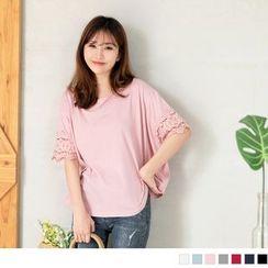 OrangeBear - Lace Trim Short Sleeve T-Shirt
