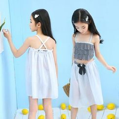 ALAS - Kids Set: Striped Ruffled Swim Top + Swim Shorts + Ribbon Cover-Up Skirt