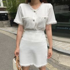 Cherryville - Set: Short-Sleeve Fringe-Trim Cardigan + Mini Skirt