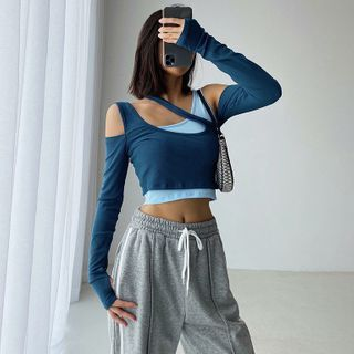 Janflower - Long-Sleeve Mock Two-Piece Color block Cropped T-Shirt
