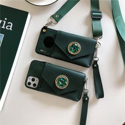 Xianto - Embellished Genuine Leather Pouch Phone Case - iPhone 11 Pro Max / 11 Pro / 11 / SE / XS Max / XS / XR / X / SE 2 / 8 / 8 Plus / 7 / 7 Plus
