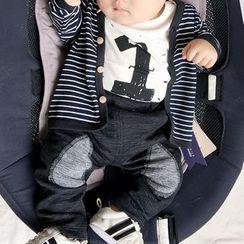 MOM Kiss - Printed Short-Sleeve Bodysuit / Striped Jacket / Applique Pants / Set