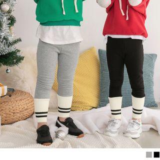 OrangeBear - Kids Striped Cuff Fleece-Lined Leggings