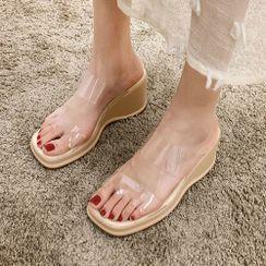 Frivole - Transparent Strap Platform Wedge Slide Sandals