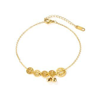 BELEC - Fashion Simple Plated Gold Geometric Circular Hollow Copper Money Bell 316L Stainless Steel Anklet