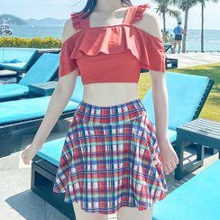 Roseate - Set: Ruffle Cold-Shoulder Tankini Top + Plaid Swim Skirt