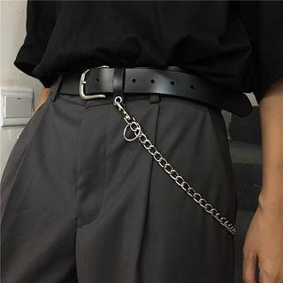 INStudio - Chain Accent Faux Leather Belt