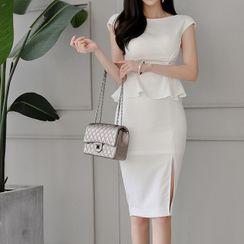 Maine - Slit-Side Cap-Sleeve Sheath Peplum Dress