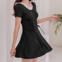 ASUMM - 短袖網紗荷葉泳裙
