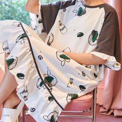 Lion Sniff - 短袖牛奶印花家居服连衣裙
