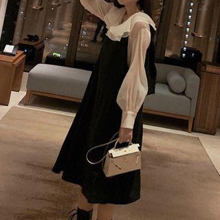 Warwhale - 套裝: 多層領襯衫 + 背帶連衣裙