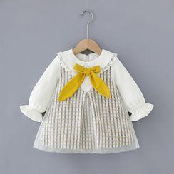 Mini Bae - Kids Bow Accent Long-Sleeve A-Line Dress