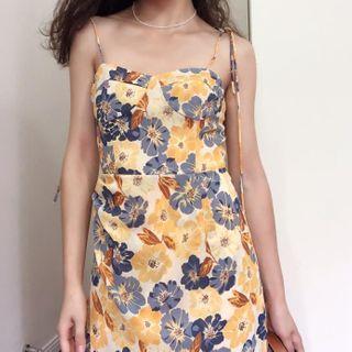 DADANA - Printed Lace-Up Slip Dress