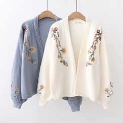 PANDAGO - Flower Embroidery Open Front Cardigan / Pocket Detail Shirt with Cat Embroidery Tie