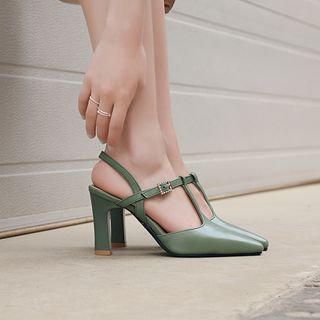 Megan - Block Heel Ankle Strap Sandals