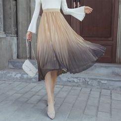 Appaula - Gradient Accordion Pleat Midi Mesh Skirt