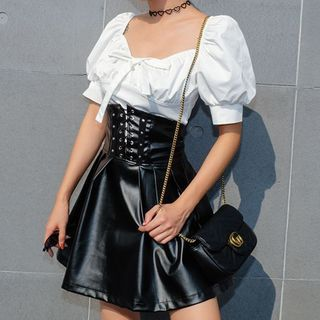 Genrovia - Short-Sleeve Blouse / Faux Leather Mini A-Line Skirt