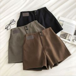 DIYI - Plain High-Waist Woolen A-Line Shorts