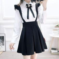 Rosehedge - Set: Bow Neck Shirt + Suspender A-line Skirt