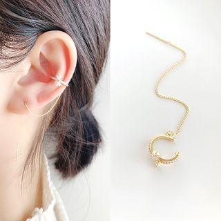 Mimishi - Threader Earring with Rhinestone Ear Cuff