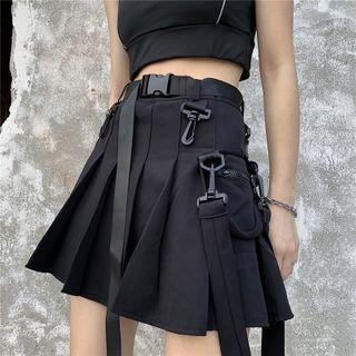 gemblack - Plain Pleated Mini Skirt With Belt