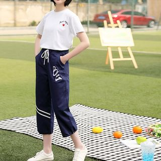 YICON - Set: Short-Sleeve Embroidered T-Shirt + Drawstring Waist Capri Pants