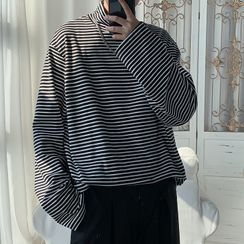 Diphon - Mock Neck Striped Long-Sleeve T-Shirt