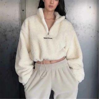 Florentine - 抓毛半拉鏈短款衛衣
