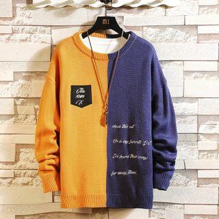 Andrei - 字母刺繡雙色毛衣