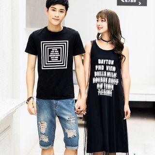 NoonSun - Couple Matching Printed Short-Sleeve T-Shirt / Lettering Tank Dress