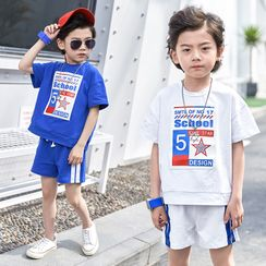 Cherry Pie - Kids Set: Short-Sleeve Star Print T-Shirt + Stripe-Side Shorts